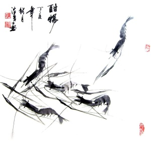 Estampe chinoise crevettes